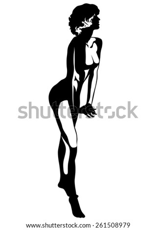 Beautiful young girl on white background - stock photo