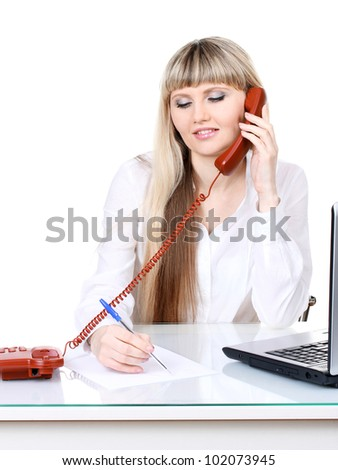 Beautiful young girl using telephone isolated on white - stock photo
