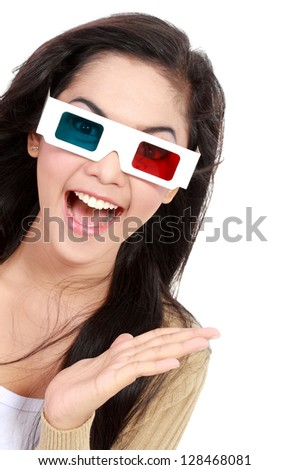 beautiful young girl  watching the movie and wear 3D glasses - stock photo