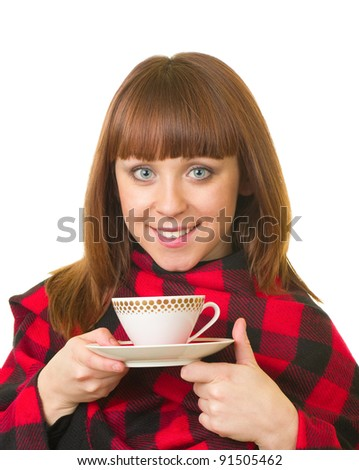 Beautiful young girl with a cup on white background. - stock photo