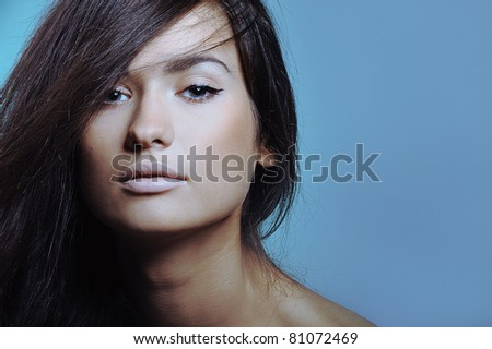 beautiful young girl with health skin of face - stock photo