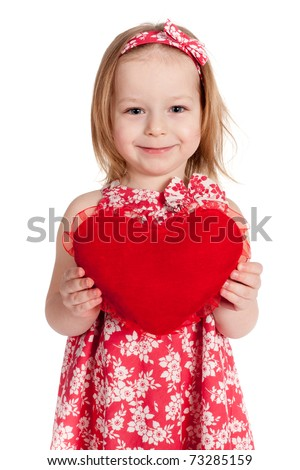 beautiful young girl with heart - stock photo