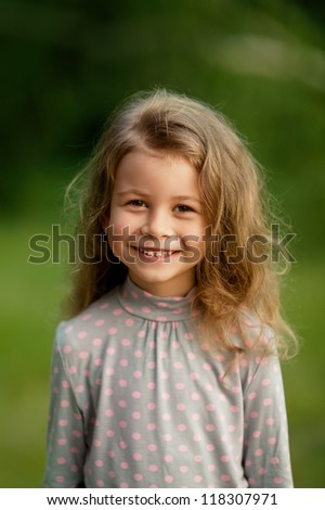 beautiful young girl with long hair - stock photo