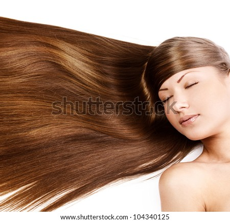 beautiful young girl with long straight hair