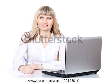 Beautiful young girl with notebook - stock photo