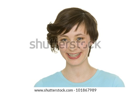 beautiful young girl with perfect teeth and oral hygiene - stock photo
