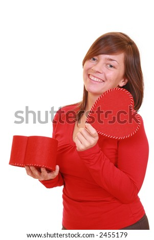 beautiful young girl with red heart isolated on white - stock photo