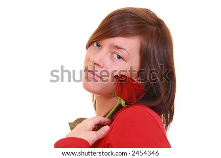 beautiful young girl with red rose isolated on white