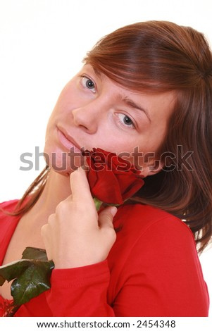 beautiful young girl with red rose isolated on white - stock photo
