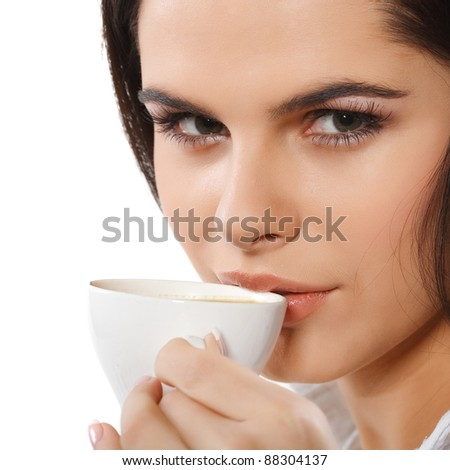 beautiful young girl  with  the cup of coffee, isolated on a white background - stock photo