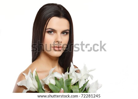 beautiful young girl with tulips