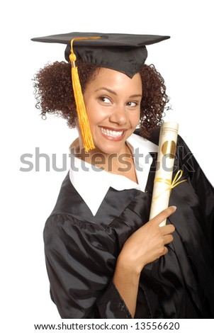 Beautiful young graduating woman holding her diploma