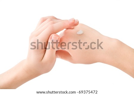 beautiful young hands on a white background