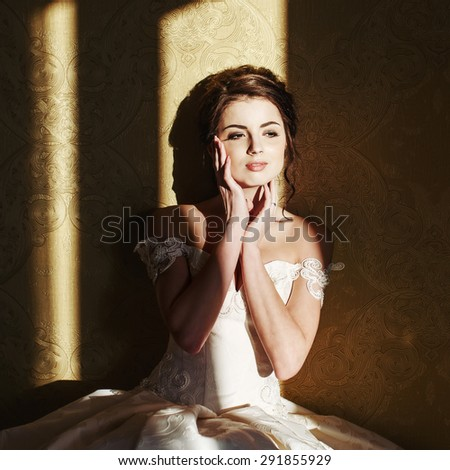 Beautiful young happy bride wedding portrait.