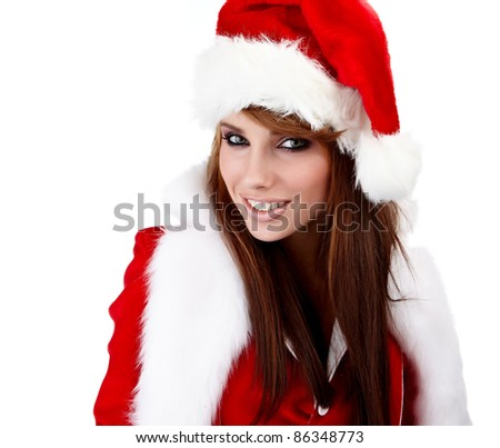 Beautiful Young Happy Christmas Woman over white - stock photo