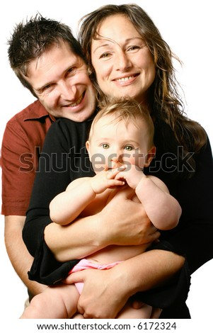Beautiful young happy family with mom holding bouncing baby girl, isolated on white. - stock photo