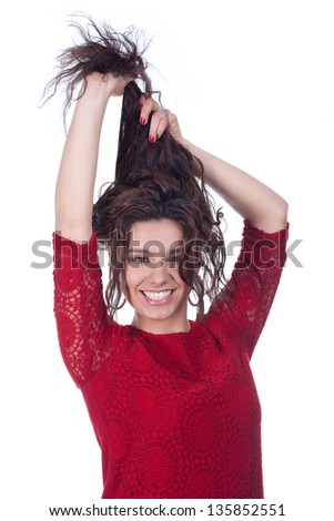 beautiful young happy woman on white background - stock photo