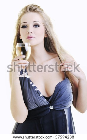 beautiful young happy woman with vine glass ready for party and drink - stock photo