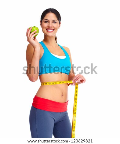 Beautiful young healthy woman. Diet. Isolated on white background. - stock photo