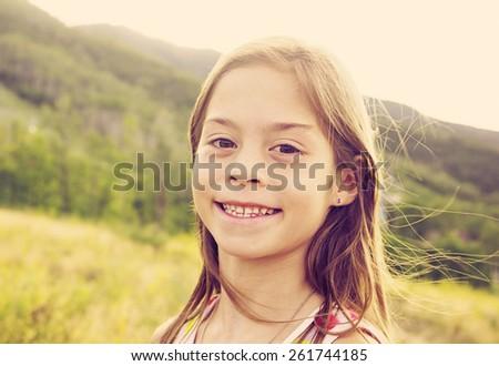 Beautiful Young hispanic girl candid portrait - stock photo
