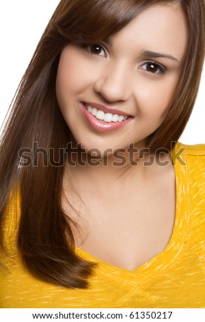 Beautiful young hispanic girl smiling - stock photo