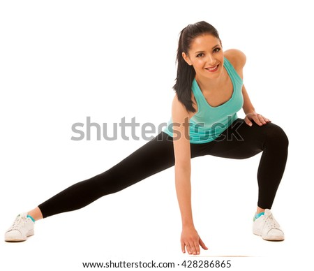 Beautiful young hispanic woman doing lunge exercise in fitness gym isolated over white background - stock photo