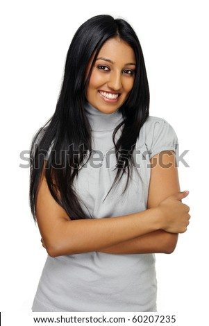 Beautiful young Indian girl poses for a portrait - stock photo