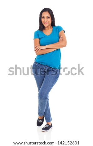 beautiful young indian woman posing with arms crossed on white background - stock photo