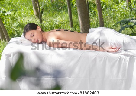 Beautiful young lady receiving hot stone therapy - stock photo