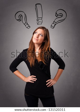 Beautiful young lady thinking with question marks overhead - stock photo