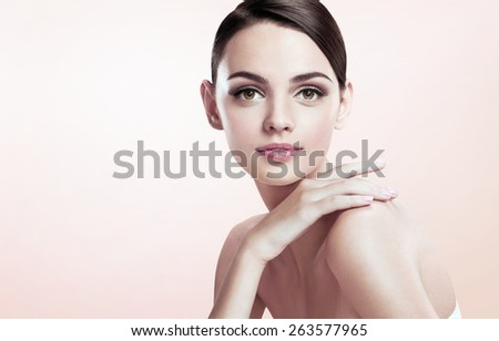 Beautiful young lady with make up face  - stock photo