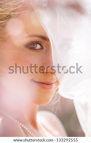 Beautiful Young Latino Bride with Blonde hair - stock photo