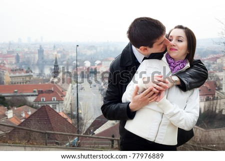 beautiful young love couple in city Prague