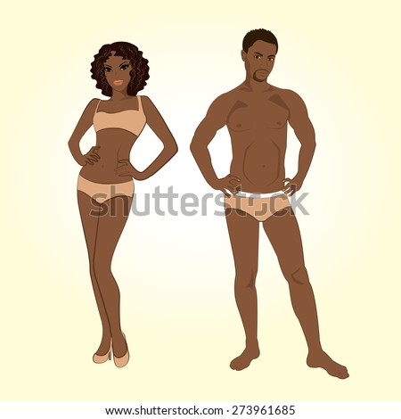 Beautiful young man and woman in lingerie on the white background - stock photo