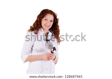 Beautiful young medic posing isolated over a white background - stock photo