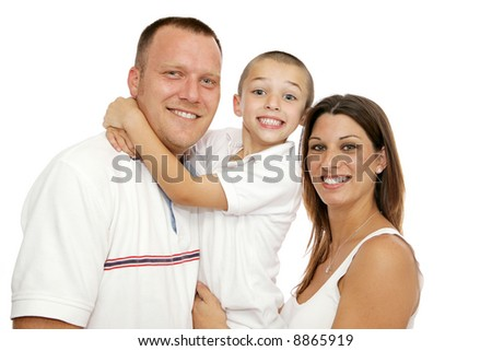 Beautiful young mother, father and little boy.  Isolated on white background. - stock photo