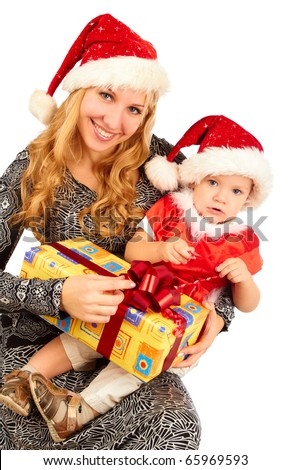 Beautiful  young mother  Santa and her son Santa holding a gift  on white background - stock photo