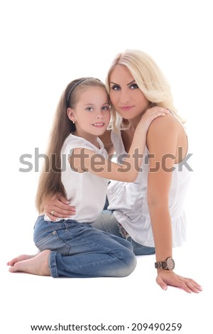 beautiful young mother with little daughter isolated on white background