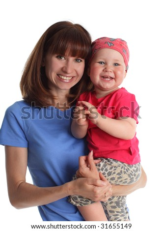 Beautiful young mother with son on the white