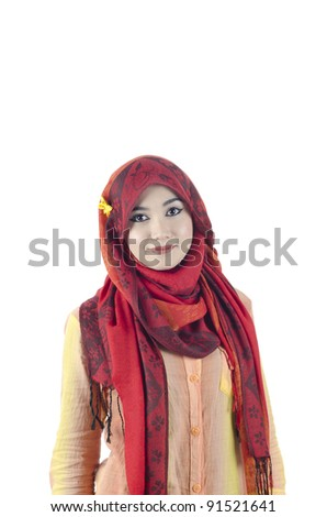 beautiful young muslim women with red head scarf - stock photo