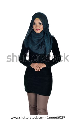 Beautiful Young Muslimah fashion pose isolated on white