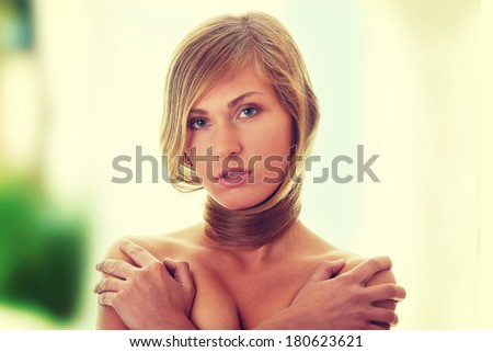 Beautiful young naked woman  - glamour concept - stock photo