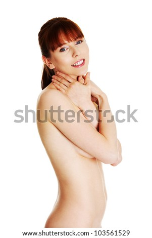 Beautiful young naked woman isolated on white background - glamour concept