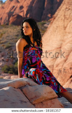 beautiful young north american native in southwest landscape just before sunset