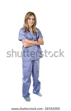 Beautiful young nurse isolated on white background - stock photo