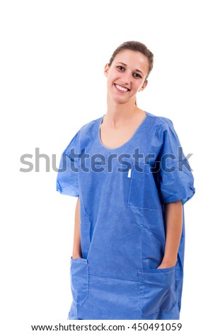 Beautiful young nurse posing isolated over a white background - stock photo