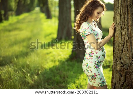 Beautiful young pregnant woman - stock photo