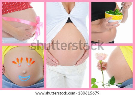 Beautiful young pregnant woman. Collage of pictures