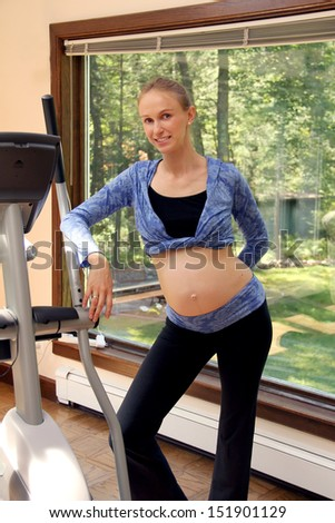 Beautiful young pregnant woman doing physical exercises. - stock photo