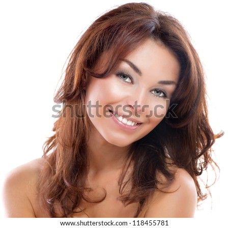 Beautiful Young Pretty Woman Isolated on a White Background. Perfect Skin. Beauty Girl Face. Professional Makeup - stock photo
